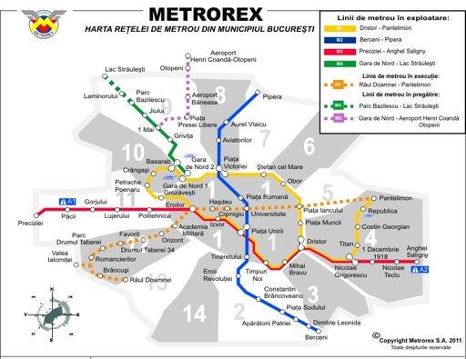 Harta Metrorex - Harta metrou Bucuresti
